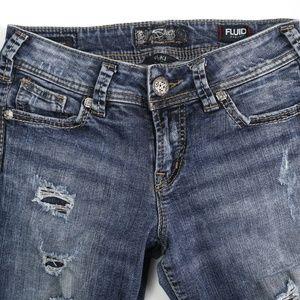 Silver Suki Fluid Destroyed Skinny Stretch Jeans